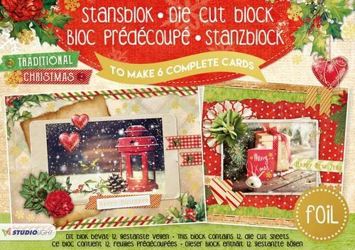 Studio Light Die cut blocs A5 folie 12 vel Tradit. Christm. A5STANSBLOKSL16 (06-18)