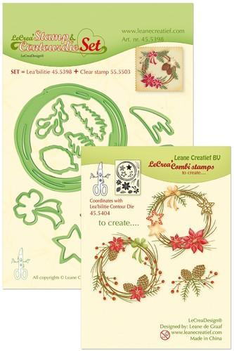 LeCrea - Leabilitie Set met Cont.mal, clearstamp Chr.wreath 45.5398 (08-18)