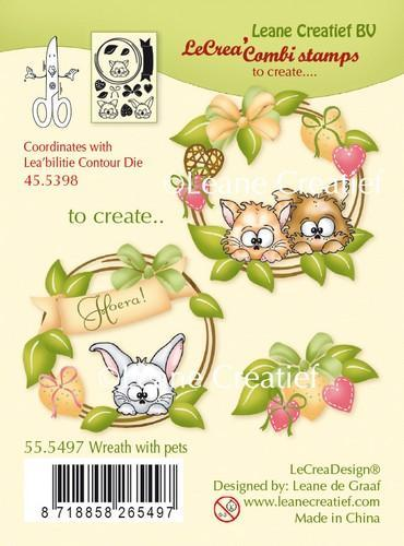 LeCrea - combi Clear stamp Wreath with pets 55.5497 (08-18)