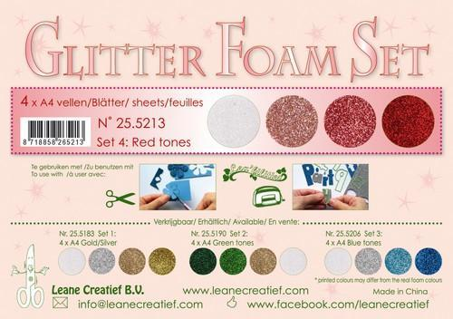 LeCrea - Glitter Foam Set 4 - 4 vl A4 red / wit 25.5213 (08-18)