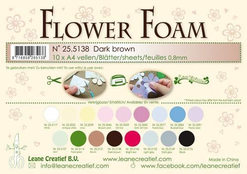 LeCrea - 10 Flower Foam sheets A4 0,8mm donkerbruin 25.5138 (08-18)