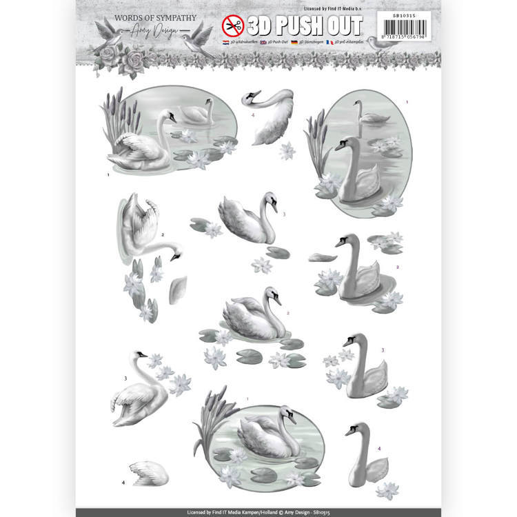3D Pushout - Amy Design - Words of Sympathy - Sympathy Swans