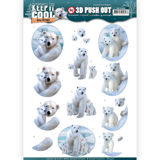 3D Pushout - Amy Design - Keep it Cool - Cool Polar Bears
