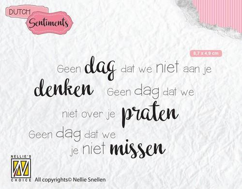 Nellies Choice Clearstempel Sentiments - Geen dag dat we niet (NL) SENC014 87x49mm (12-18)
