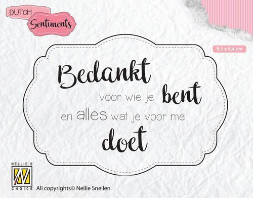 Nellies Choice Clearstempel Sentiments - Bedankt voor wie (NL) SENC010 93x64mm (12-18)