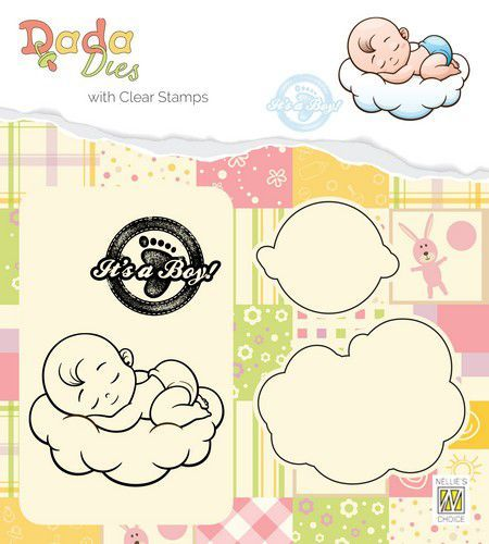 Nellies Choice DADA Die with clear stamp Its a boy - sweet dreams DDCS010 54x42mm (03-19)