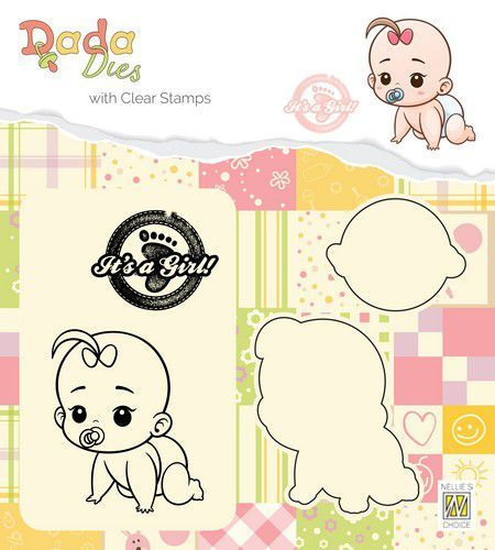 Nellies Choice DADA Die with clear stamp Its a girl - kruipen DDCS012 42x50mm (03-19)