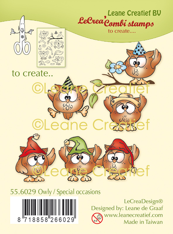LeCreaDesign® combi clear stamp Uil, special occasions