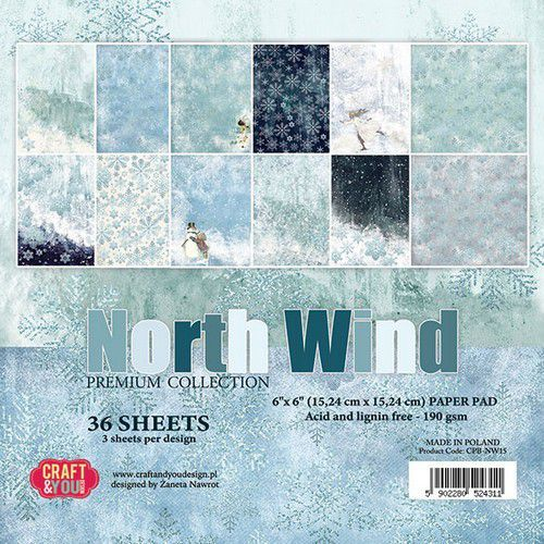 Craft&You North Wind Small Paper Pad 6x6 36 vel CPB-NW15 (09-19)