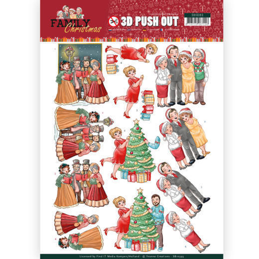3D Pushout - Yvonne Creations - Family Christmas - Celebrate Christmas