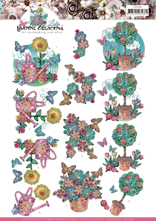 3D cutting sheet - Yvonne Creations - Kitschy Lala - Kitschy Flower Pots