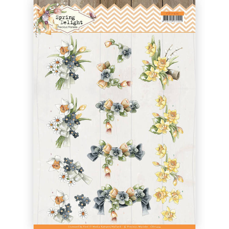 CD11434 3D cutting sheet - Precious Marieke - Spring Delight - Violets and Daffodils (HJ180)