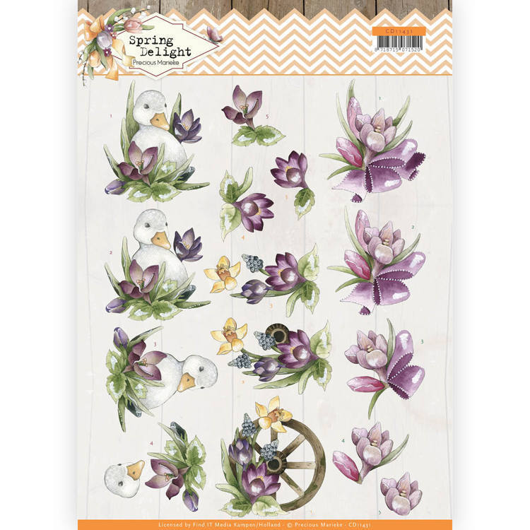 CD11431 3D cutting sheet - Precious Marieke - Spring Delight - Purple Crocus (HJ180)