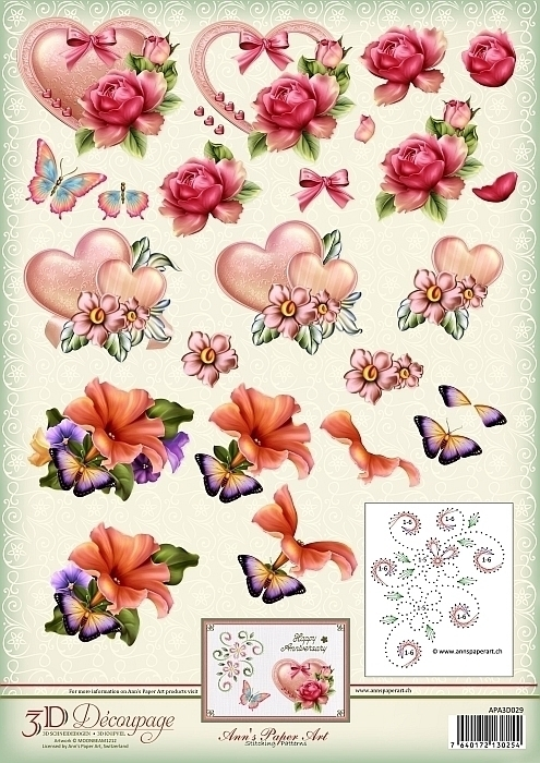 APA3D029 3D cutting sheet - Ann's Paper Art - Art and Love and Romance