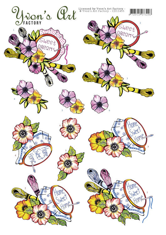 CD11455 3D cutting sheet - Yvon's Art - Stitching