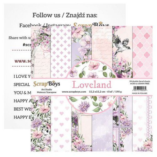 ScrapBoys Loveland paperpad 24 vl+cut out elements-DZ   LOLA-09 190gr 15,2cmx15,2cm (03-20)