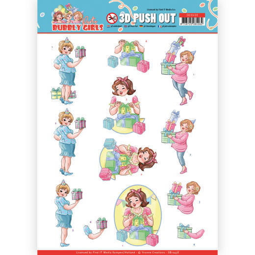 3D Pushout - Yvonne Creations - Bubbly Girls - Party - Decorating