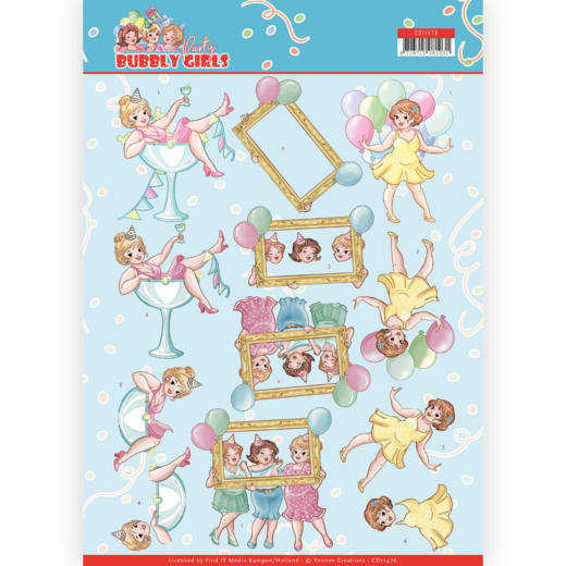 3D cutting sheet - Yvonne Creations - Bubbly Girls - Party - Let's have fun