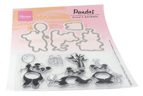 Marianne D Clear stamp Eline's animals - Panda's EC0179 (5 stamp 4 dies) (05-20)