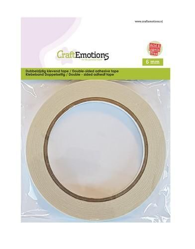 CraftEmotions Dubbelzijdig klevend tape 6mm 20 MT 1 RL 3.3190