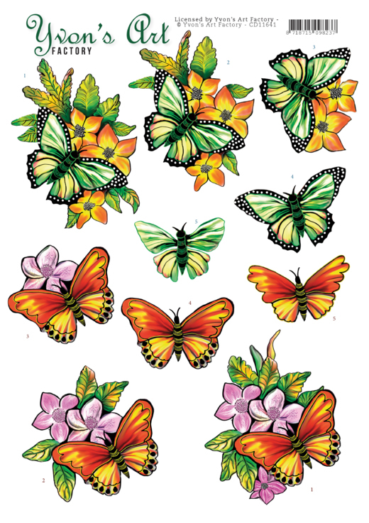 3D Cutting Sheet - Yvon's Art - Butterflies orange